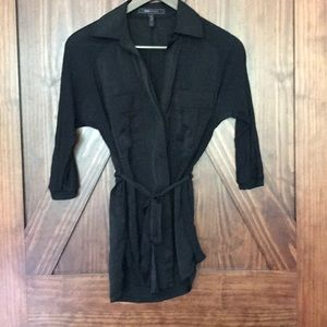 Black BCBG Maxazria button up top with tie.